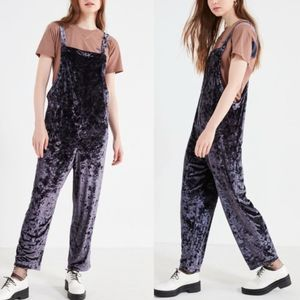 UO Shapeless Crushed Velvet Overall Jumpsuit